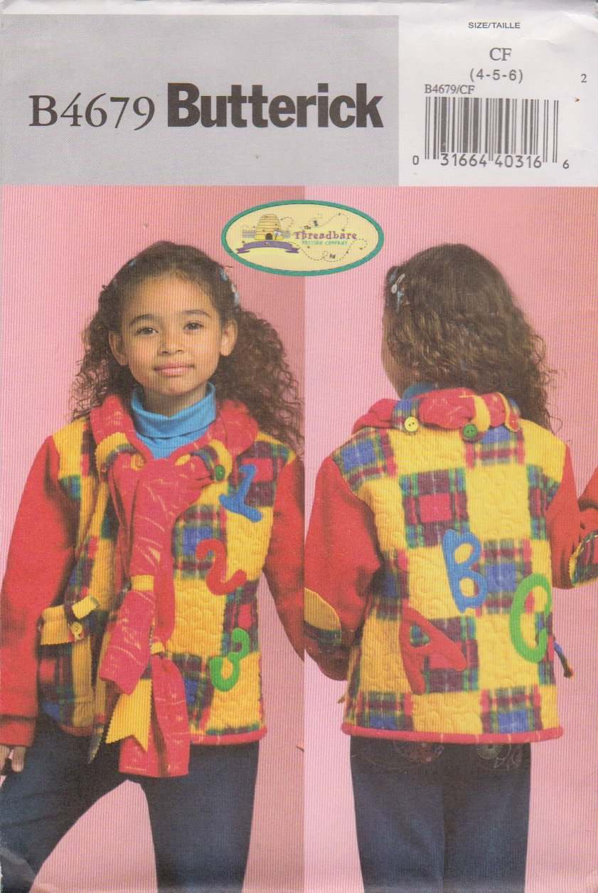Butterick Sewing Pattern 4679 Toddlers Boys Girl Size 4-5-6 Quilted Appliqued Jacket Attached Scarf