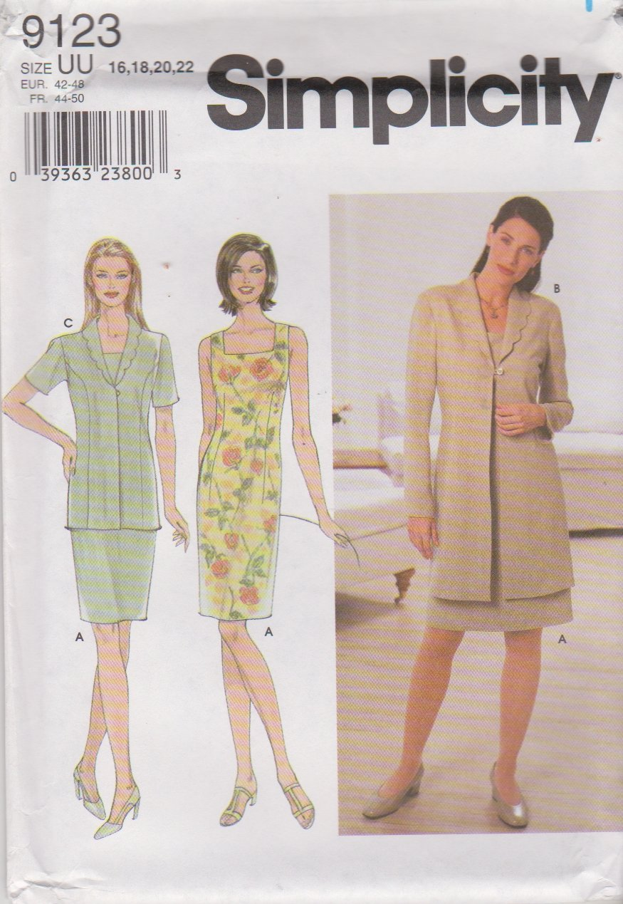 Simplicity Sewing Pattern 9123 Misses Size 16-22 Sleeveless Straight Dress Jacket
