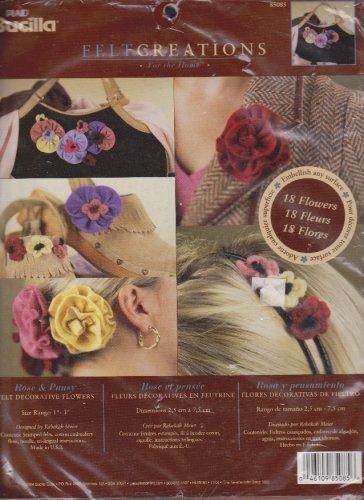"Bucilla Felt Creations 85085 Rose & Pansy Decorative 1"" - 3"" 18 Flowers Kit  Embellishing NEW"