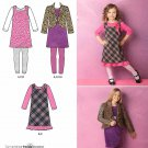 Simplicity Sewing Pattern 2156 Girls' Sizes 3-6 Wardrobe Jumper Jacket Knit Leggings Dress Top