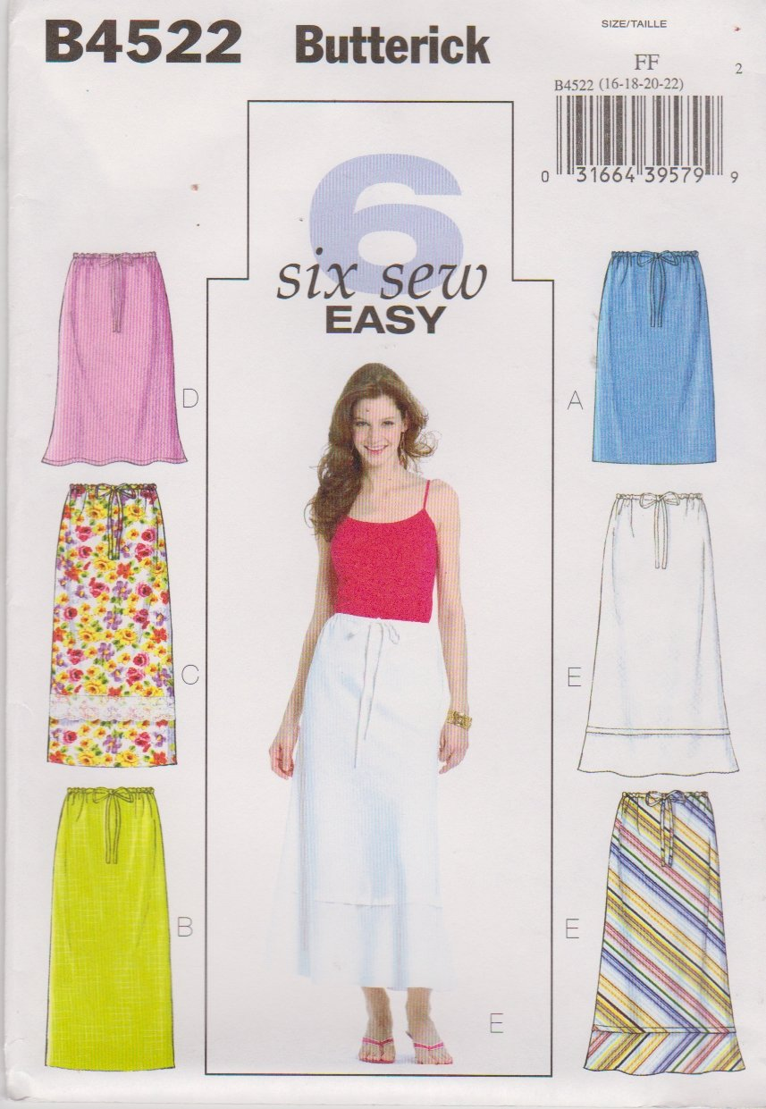Butterick Sewing Pattern 4522 Misses Size 16-18-20-22 Easy Straight A-Line Long Short Skirts