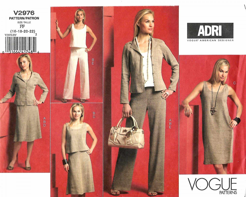 Vogue Sewing Pattern 2976 Misses Size 16-22 Easy ADRI Wardrobe Jacket Top Dress Skirt Pants