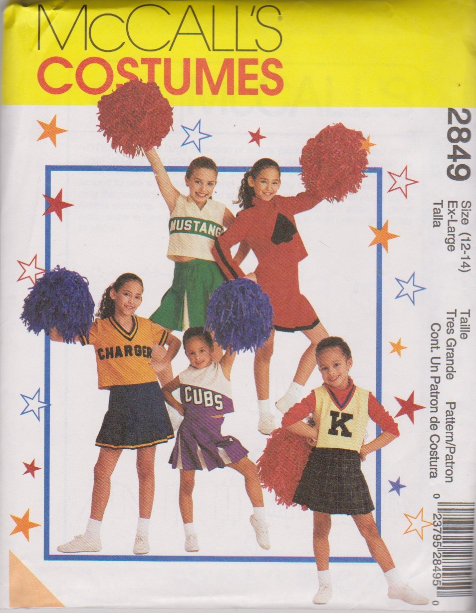 McCall's Sewing Pattern 2849 M2849 Girls Size 12-14 Cheerleaders Outfits Pleated Skirt Tops Panties