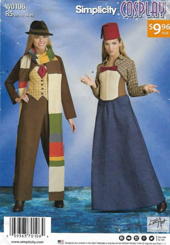 Simplicity Sewing Pattern W0106 8200 Misses Size 14-22 Cosplay Time Travel Costumes
