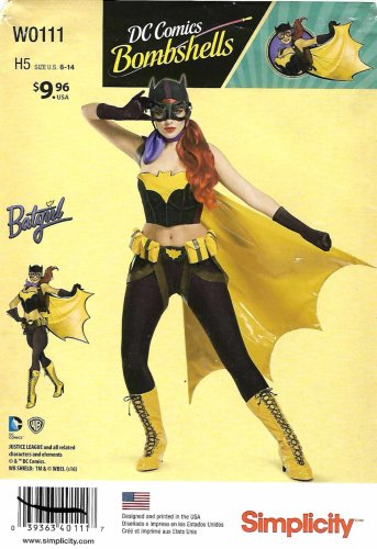 Simplicity Sewing Pattern W0111 0111 8197 Misses Size 6-14 DC Comics Bombshell Batgirl Costume