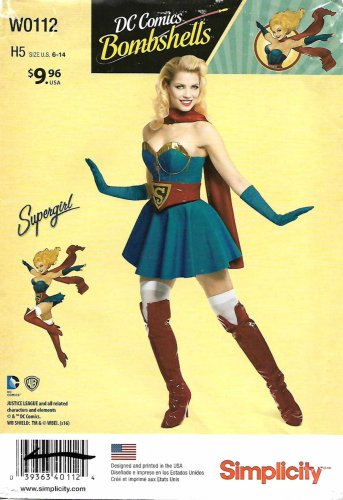 Simplicity Sewing Pattern W0112 0112 8185 Misses Size 6-14 DC Comics Bombshell Supergirl Costume