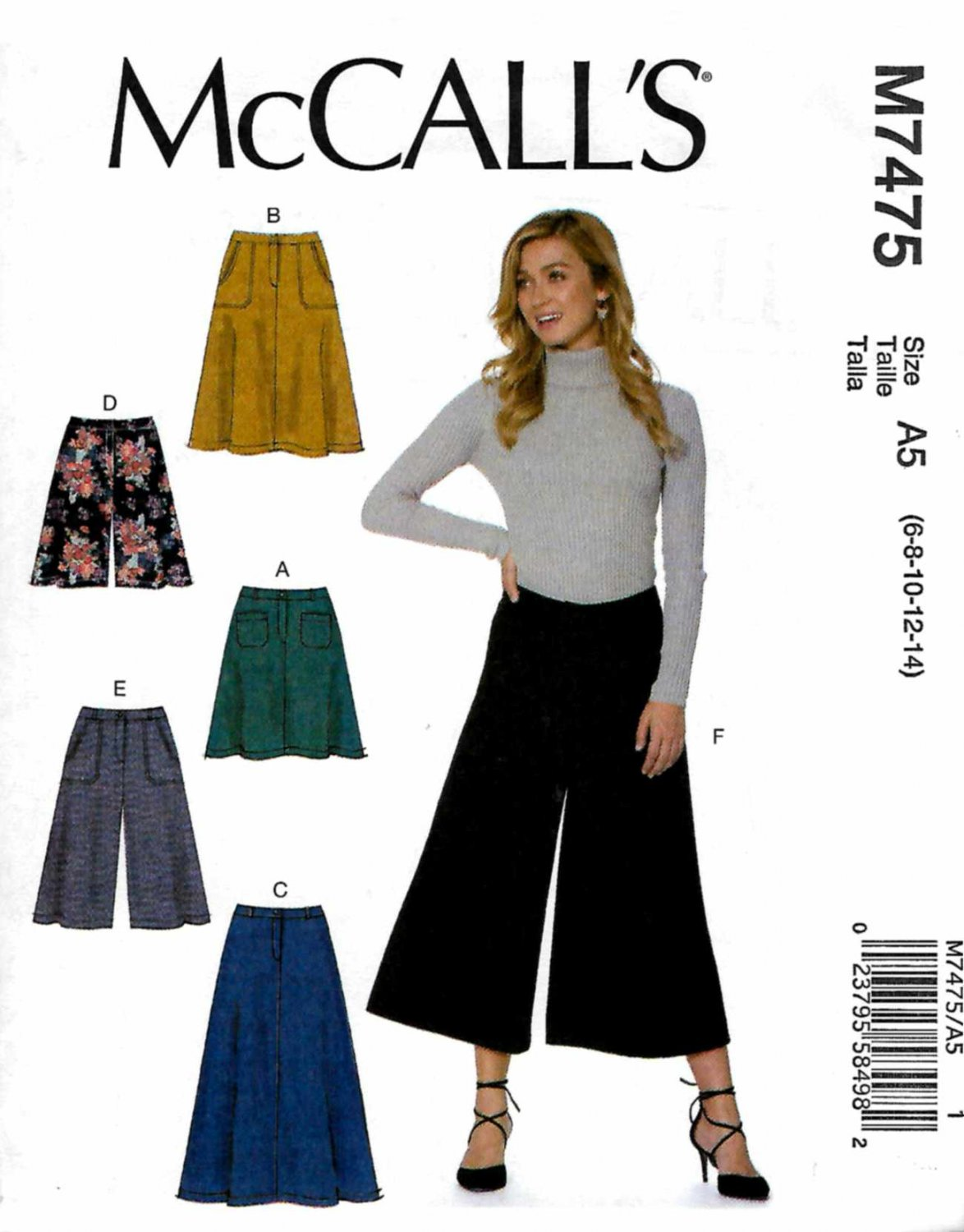 McCall's Sewing Pattern 7475 Misses Size 6-14 Easy A-Line ...