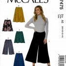 McCall's Sewing Pattern 7475 Misses Size 6-14 Easy A-Line Skirts Shorts Culottes Gauchos