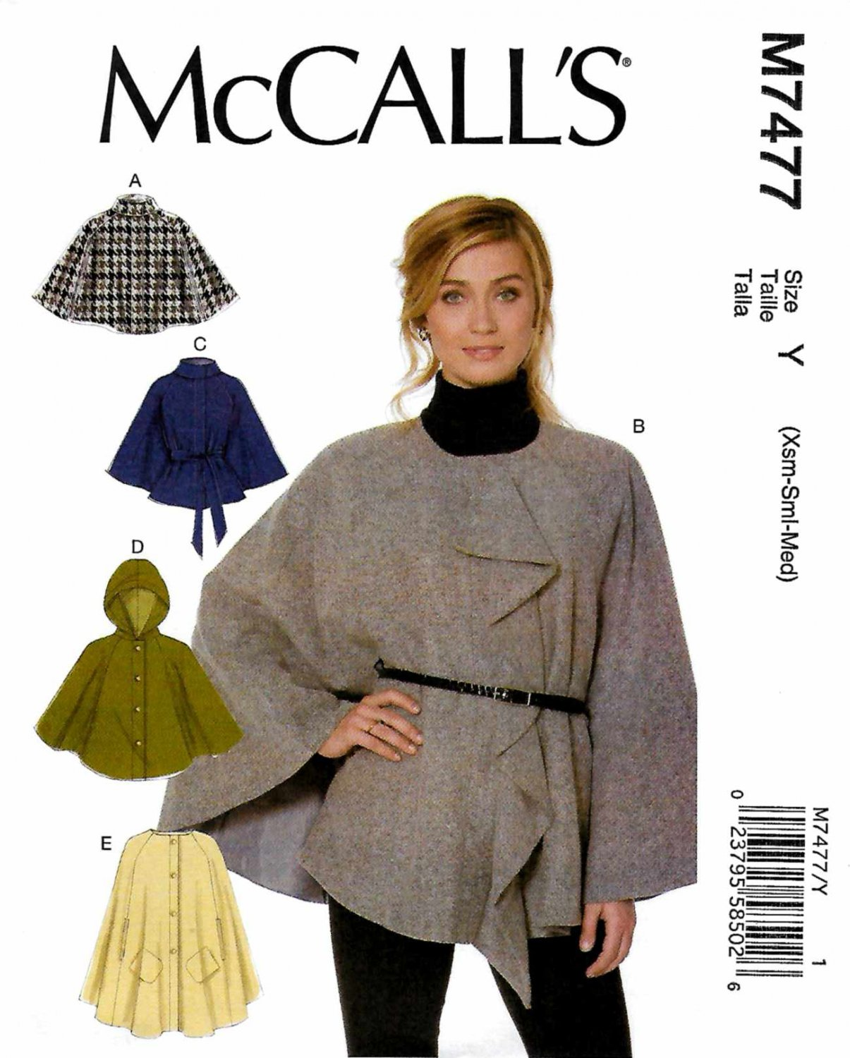 McCall's Sewing Pattern 7477 Misses Size 4-14 Easy Snap Button Front Capes Hood Belt Pockets