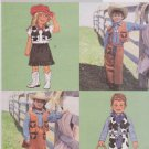 Butterick Sewing Pattern 3991 Boys Girls Size 6-7-8 Cowboy Cowgirl Costume Vest Skirt Pants Chaps