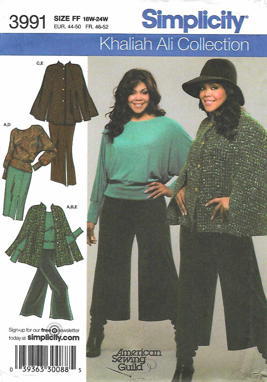Simplicity Sewing Pattern 3991 Womans Plus Size 18W-20W-22W-24W Gauchos Pants Top Cape Skirt