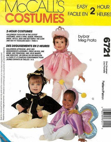 McCall's Sewing Pattern 6721 Boys and Girls Toddler's Size 1-4 Easy 2-Hour Costumes.