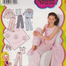 Simplicity Sewing Pattern 0625 5358 Girls Size 8-16 Pajamas Pants Top Knit top Slippers Blanket