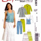 McCalls Sewing Pattern M5301 5301 Misses Size 6-12 Easy Wardrobe Camisole Shirt Pants Skirt