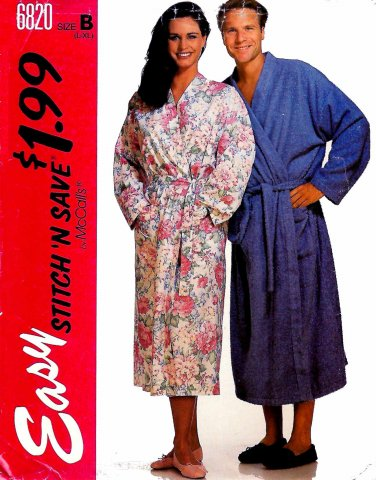McCalls Sewing Pattern 6820 Mens Misses Size 40-46 Easy Wrap Front Robe Tie Belt