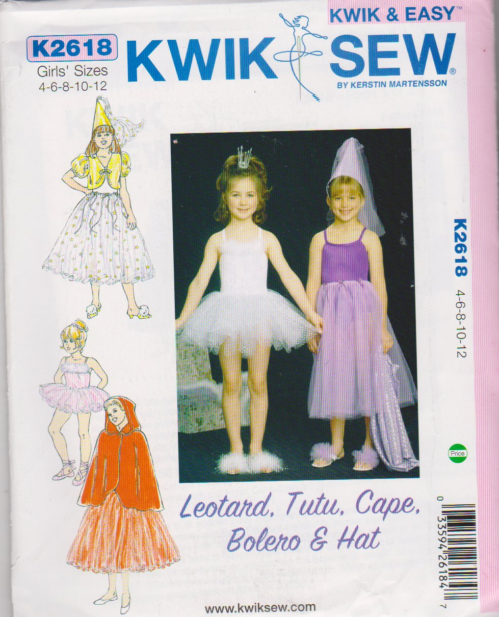 Kwik Sew Sewing Pattern 2618 K2618 Girls Sizes 4-12 Costumes Leotard TuTu Cape Bolero Hat Dance