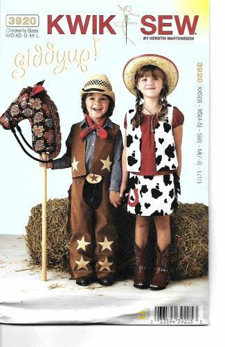 Kwik Sew Sewing Pattern 3920 Boys Girls Size 3-10 Cowboy Cowgirl Chaps Vest Skirt Stick Horse