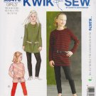 Kwik Sew Sewing Pattern 3476 Girls Size 4-14 Knit T-Shirt Tunics Top Leggings Two Lengths