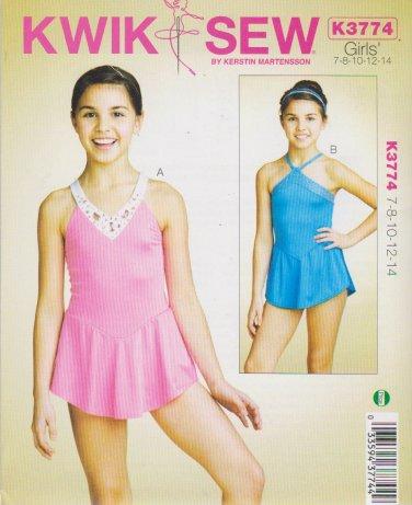 Kwik Sew Sewing Pattern 3774 Girls Size 7-14 Skirted Leotards Dance Gymnastics Skating