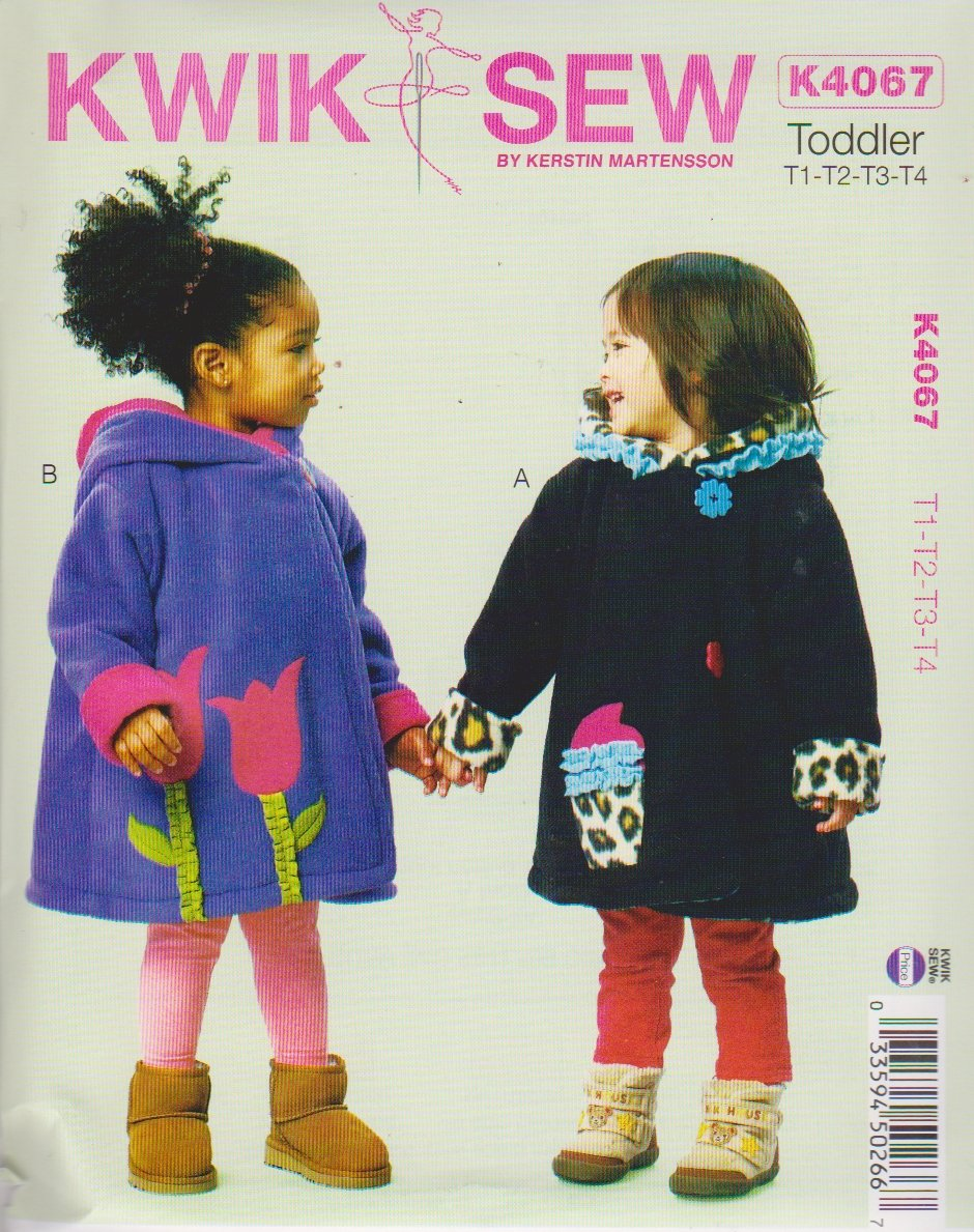 Kwik Sew Sewing Pattern 4067 Toddler Girls Size T1-T4 Hooded Lined Button Front Coat Appliqued