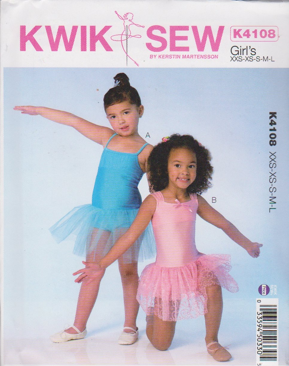 Kwik Sew Sewing Pattern 4108 Girls Size 3-10 Knit Leotard Attached Tutus Skirt