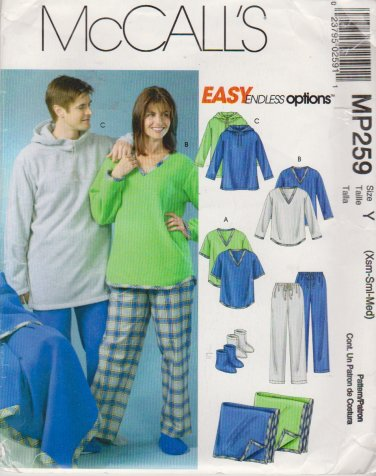 McCall's Sewing Pattern 4675 MP259 Misses Mens Chest Size L-XL Easy Pajamas Pants Top Blanket