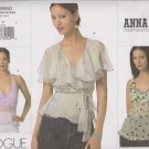 Vogue Sewing Pattern 2850 Misses Size 12-14-16 Anna Sui 3 Different Blouses Halter Tops