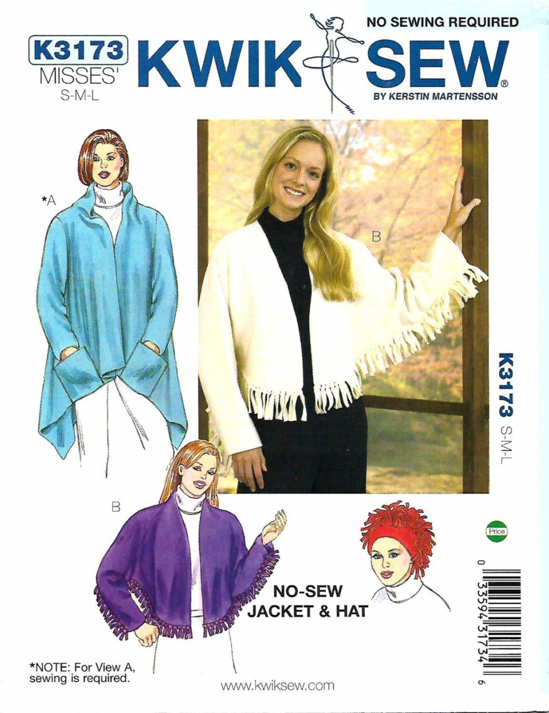 Kwik Sew Sewing Pattern 3173 K3173 Misses Sizes 12-22 No Sew Jacket Hat Sewn Shawl