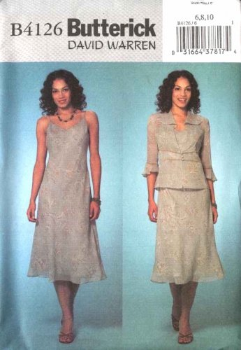 Butterick Sewing Pattern 4126 B4126 Misses Size 6-8-10 Unlined Jacket A-Line Slip Lined Dress