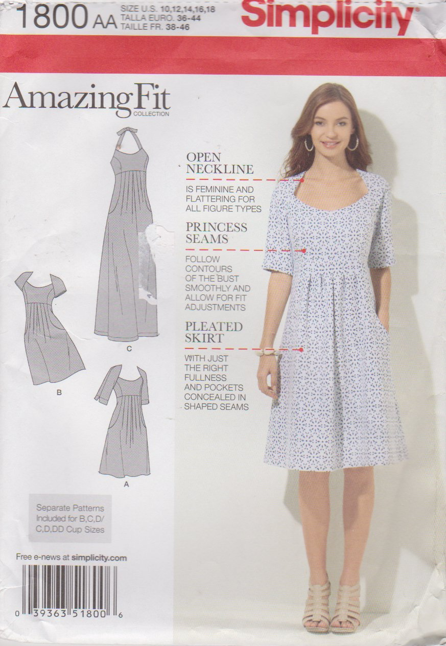 Simplicity Sewing Pattern 1800 Misses Size 10-18 Raised Waist Dress Sleeve Options