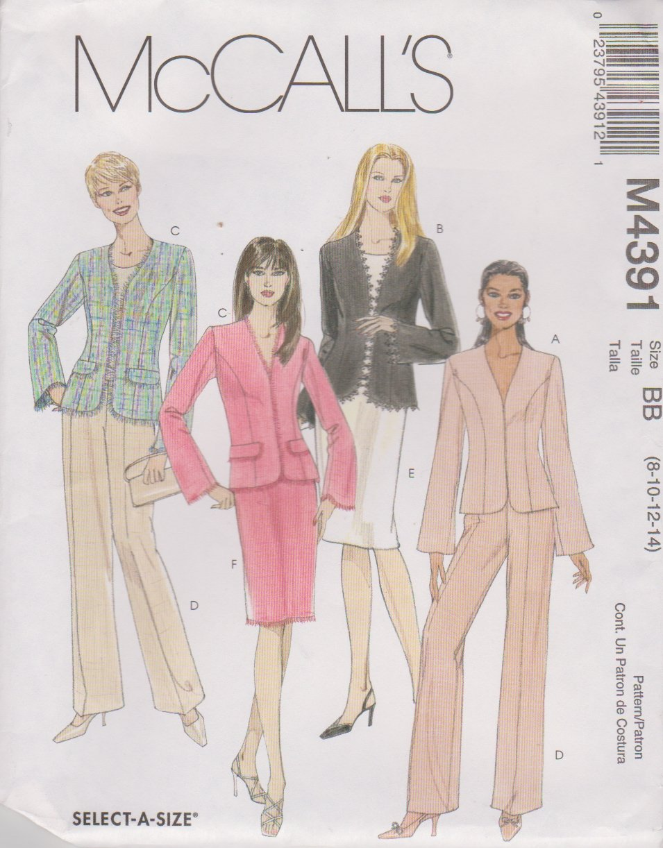 McCall's Sewing Pattern 4391 Misses Size 8-14 Lined Jacket Pants Straight Skirt Suit Pantsuit