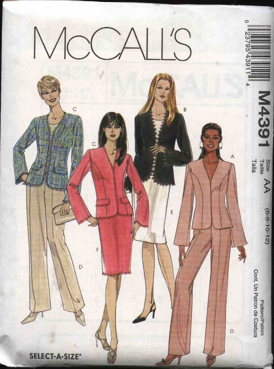 McCall's Sewing Pattern 4391 Misses Size 6-12 Lined Jacket Pants Straight Skirt Suit Pantsuit