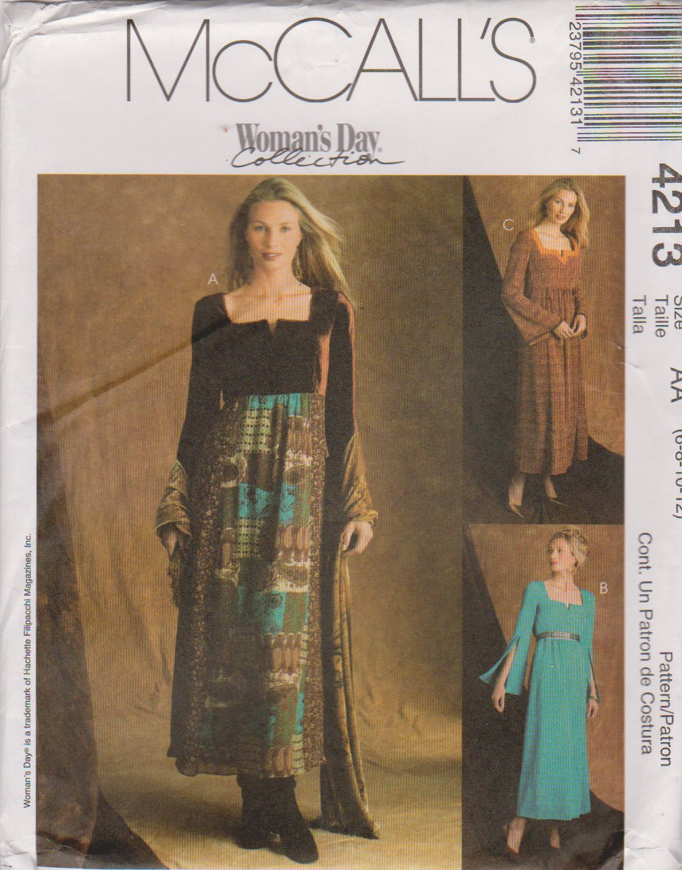 McCall's Sewing Pattern 4213 Misses Size 6-12 Long Sleeve Raised Waist Empire Dress