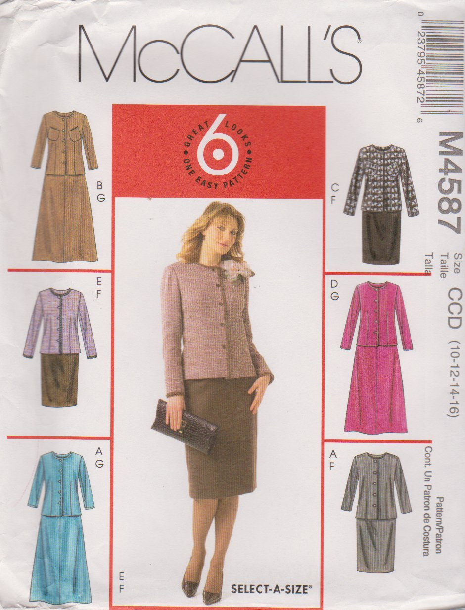 McCall�s Sewing Pattern 4587 Miss Size 10-16 Easy Unlined Button Front Jacket Straight Flare Skirt