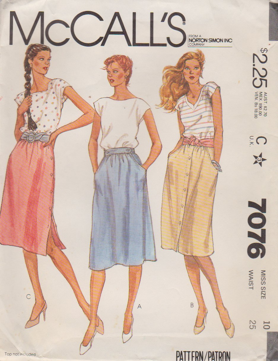 McCall�s Sewing Pattern 7076 Misses Size 10 Classic Softly Gathered Skirts Side Front Button