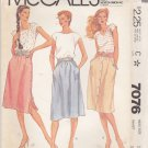 McCall's Sewing Pattern 7076 Misses Size 16 Classic Softly Gathered Skirts Side Front Button