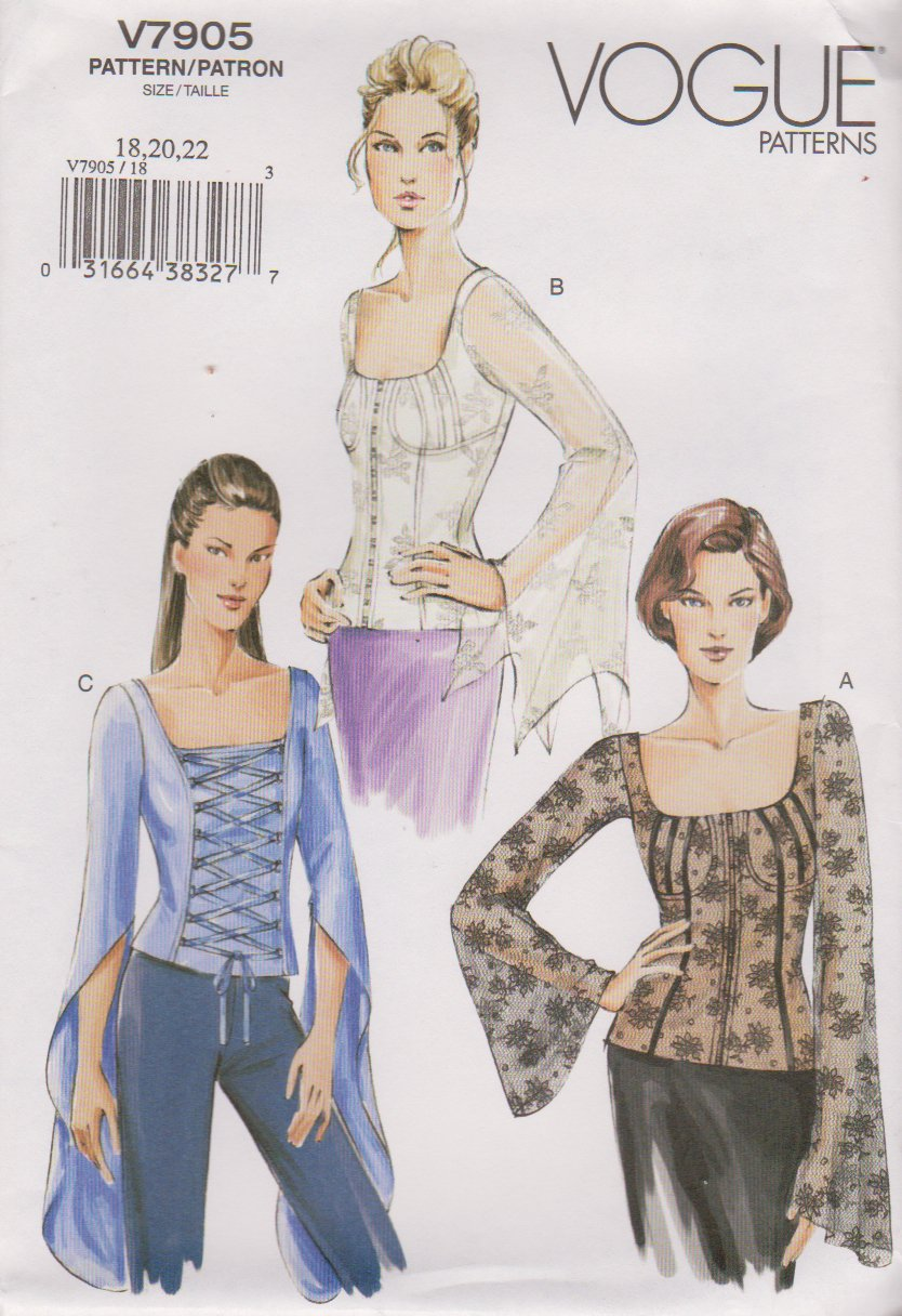 Vogue Sewing Pattern 7905 V7905 Misses Size 18-22 Corset Top with  Boning Blouse
