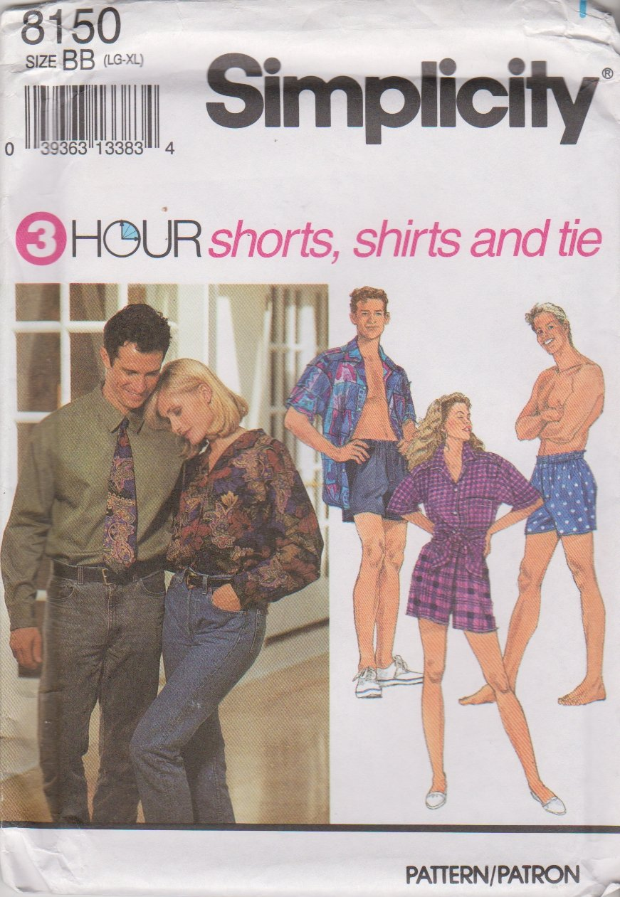 """Simplicity Sewing Pattern 8150 Misses Mens Unisex Chest Size 42-48"""" Shorts Button Front Shirt Tie"""