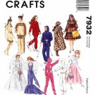 "McCall's Sewing Pattern 7932 Doll Clothes 11 1/2"" Barbie Ken Dresses Wedding Gown Space Suit"
