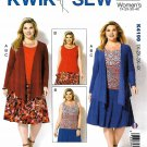 Kwik Sew Sewing Pattern 4199 K4199 Womens Plus Size 1X-4X Knit Draped Jacket Tank Top Skirt