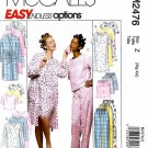 McCall's Sewing Pattern M2476 2476 Misses Size 20-26 Easy Nightgown Pajama Pants Tops Robes