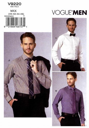 Vogue Sewing Pattern 9220 V9220 Men's Sizes 40-46 Long Sleeve Button Front Shirt