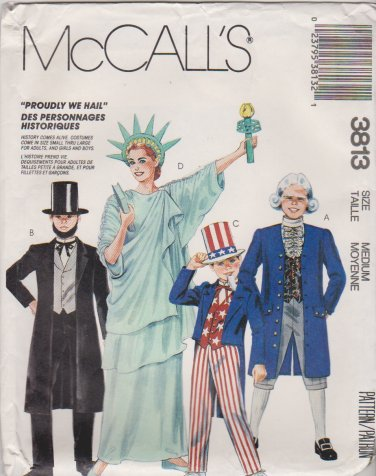 McCall's Sewing Pattern 3813 6143 8701 Adult Size 36-38 Costumes Uncle Sam Liberty Abe Lincoln