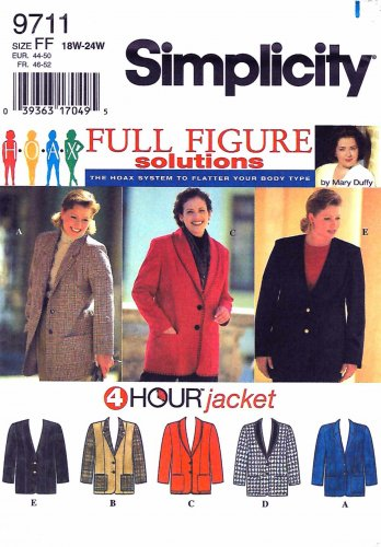 Simplicity Sewing Pattern 9711 Womens Plus Sizes 18W-24W Button Front Princess Seam Jacket