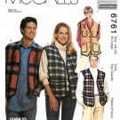 McCall's Sewing Pattern 6761 M6761 Mens Misses Size 42-44 Button Zipper Front Vest