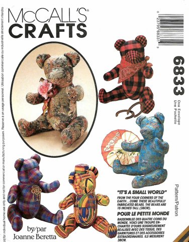 """McCall's Sewing Pattern 6833 M6833 Crafts Stuffed 15"""" Bears Acessories"""