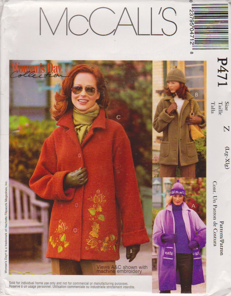 McCall's Sewing Pattern 471 3788 Misses Size 16-22 Fleece Button Front Embroidered Jacket Hat Scarf