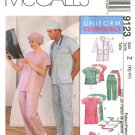 McCall's Sewing Pattern 6107 9123 Misses Mens Chest 42-48 Lab Coat Scrub Uniform Top Pants Dress