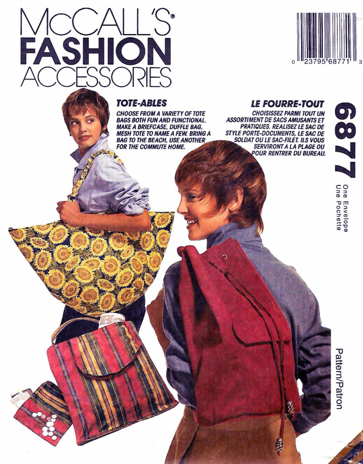 McCall's Sewing Pattern 6877 875 Fashion Accessories Totes Bags Backpack Duffle Bag