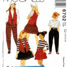 McCall's Sewing Pattern 6702 Girls Size 10-14 Easy Wardrobe Vest Top Skirt Pants
